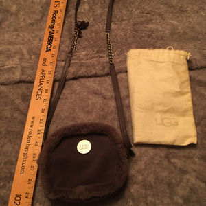 Small Ugg gray Suede and Sherpa Crossbody